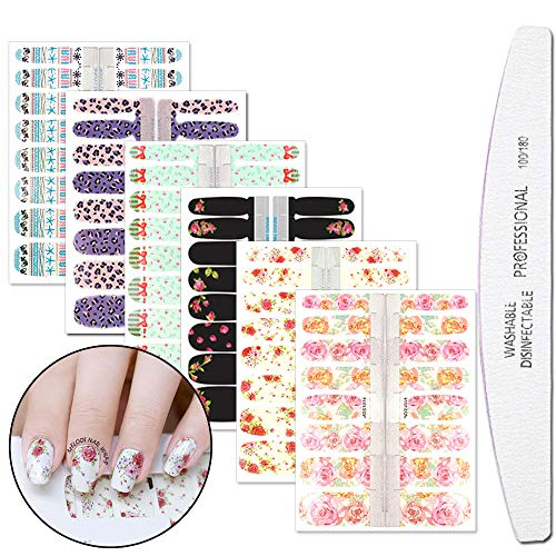 WOKOTO 6 Pieces Flower Adhesive Nail Art Polish Stickers Tips With 1Pc Nail File Fish Nail Wraps Decal Strips Manicure Kit For Women