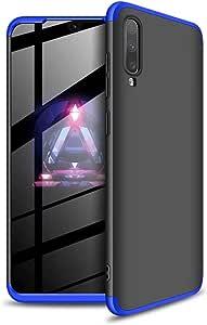 Ttimao Hoesje voor Samsung Galaxy A70 PC Harde Schaal Beschermhoes +1*Screen Protector Ultradunne Krasbestendig Shock Proof 360 ° Beschermhoesje 3 in 1 Beschermende Hoes-Blauw Zwart