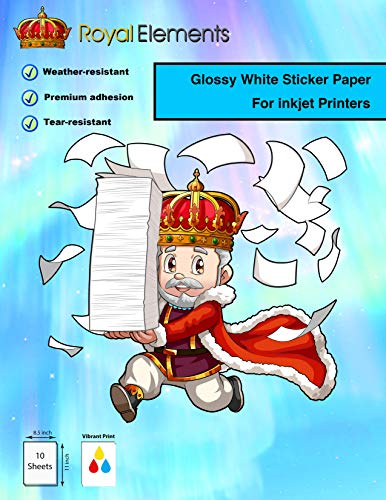 Royal Elements Waterproof Printable Vinyl Sticker Paper for Inkjet Printer - 10 Sheets - Glossy White ()