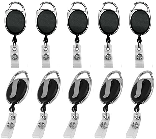 Professional Heavy Duty Self Retracting ID Badge/Key Reel and Holder with Retractable Nylon Cord, 24 inches and Carabiner | Black by Blue Shoe Guys | 10-Pack | (Love it or Its 100% Free Guaranteed)