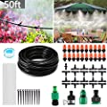 MSDADA Outdoor Misting Cooling System Micro Irrigation Kits, 50ft Blank Distribution Tubing Irrigation 4/7 Tube DIY Garden Saving Water for Patio Garden Umbrellas Greenhouse Trampoline