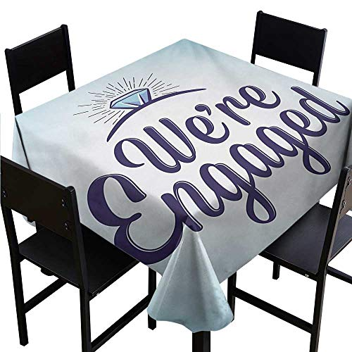 scenine White Rectangular Table Cloth Engagement Party,We are Engaged Announcement Quote Wedding Ring Celebration,Sky Blue and Navy Blue 60