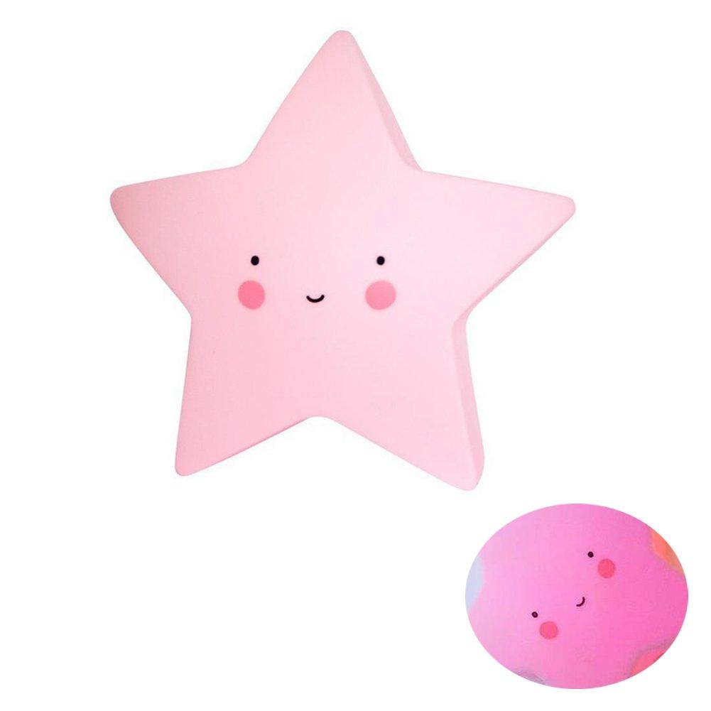 Yigo - Lámpara infantil con luz led nocturna, a pilas, blanco cálido, diseño de estrella blanco cálido diseño de estrella
