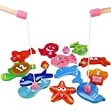 Fishing Game - BESTOYARD Magnetic Wooden Fishing Toy Game for Toddlers Kids - Includes 12 Different Fishes, 2 Magnetic Rods and 2 Dices