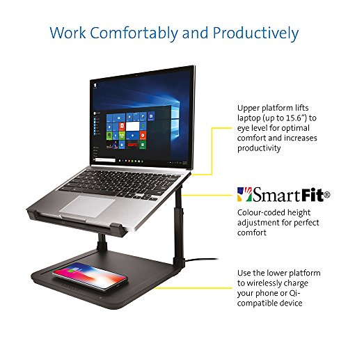 Kensington SmartFit Ergonomic Laptop Riser for up to 15.6-Inch Laptops with Qi Wireless Phone Charging Pad by Kensington (Image #1)