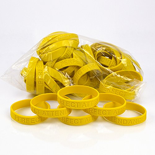 Set of 100 Wristbands - Perfect Attendance (Yellow)