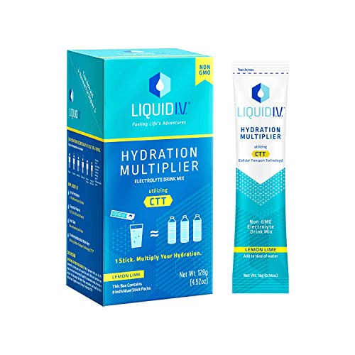 Liquid I.V. Hydration Multiplier, Electrolyte Powder, Easy Open Packets, Supplement Drink Mix (Lemon Lime, 8 Count)