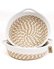 """INDRESSME 2pack Small Basket - Cotton Rope Basket Woven Storage Basket Rope Baskets for Keys Wallet by Cute Basket for Phone Fruit Vegetable Basket in Kitchen Boho Decor, 9.8"""" x 8.7"""" x 2.8"""""""