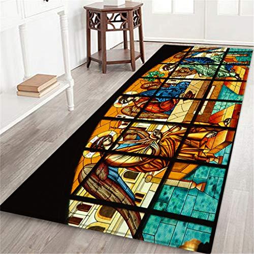 Other-sey Carpet Hallway Doormat Rugs Notre Dame de Paris Pattern Square Area Slip Carpet Absorb Water Kitchen Bathroom Mat 60X180CM