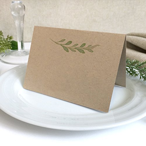 20 Pack - Kraft Greenery Wedding Place Cards - Blank Green Florals Kraft Wedding Escort Cards - Pre-Scored Shipped Flat You Fold - Pack of 20