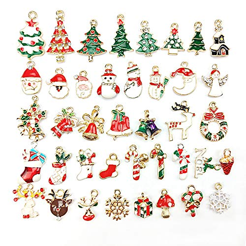 40 Pcs Christmas Pendants Charms for Bracelet Necklace Jewelry DIY Making, Birthday, Christmas Day, Thanksgiving Day Gift for Children -