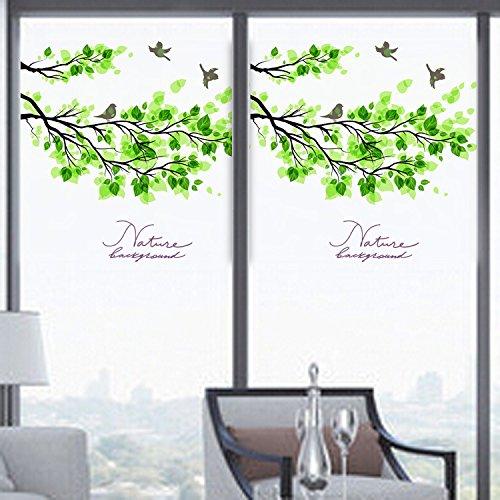 Window Treatments - 60x58cm Frosted Opaque Glass Window Film Tree Bird Privacy Glass Stickers Home Decor - Rimed Glaze Windowpane Movie Frosty Spyglass Cinema - 1PCs