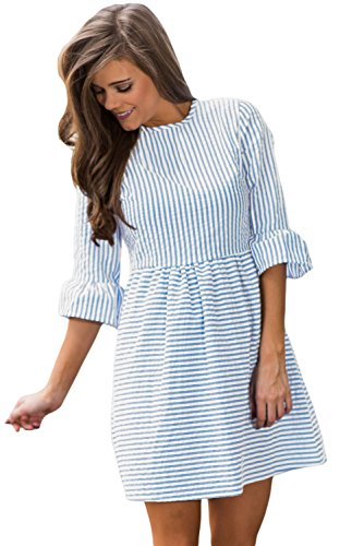 Dresses Junior Spring (HOTAPEI Juniors Casual Summer 3/4 Sleeve Fit and Flare Mini Dress Sundresses Blue Striped Small)