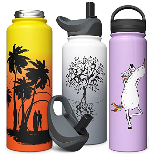 Stainless Steel Vacuum Insulated Water Bottle with Straw Lid & Screw on Top | Wide Mouth Double Walled Non Sweat Leak Proof Lightweight Thermos 18oz / 24oz / 32oz / 40oz (Purple, 18 oz)