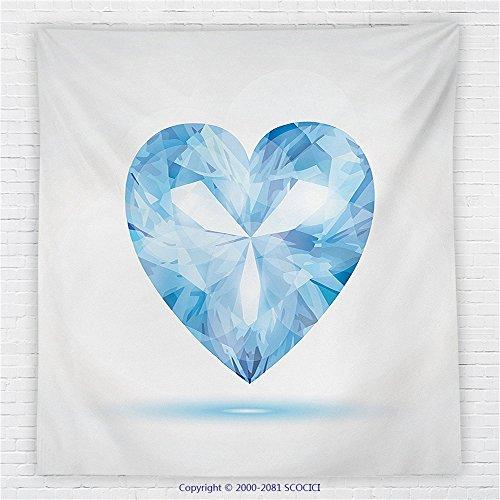 59 x 59 Inches Diamond Decor Fleece Throw Blanket Big Hanging Valentine Heart with Bright Shades Shadow Box Passion Romance Fortune Decor Blanket Blue (Shadow Box Pottery Barn)