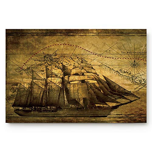 FOREVER20 Home Bath Mat Entrance Way Indoor Doormat Vintage Vellum Sailing Map Welcome Mat Non Slip Rug for Apartment/Dormitory/Office - Vellum Boy