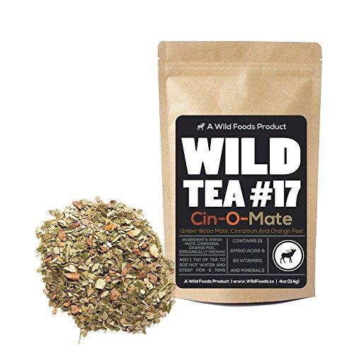 Organically Grown Yerba Mate Herbal Tea With Cinnamon and Orange Peel, Wild Tea #17 Cin-O-Mate by Wild Foods (4 ounce)