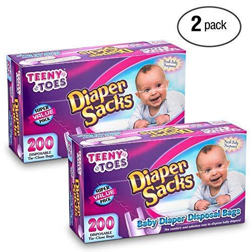 Diaper Waste Bag with Tie Close 200 Bags 1 Pack Teeny Toes Baby Odorless Disposable Diaper Sacks