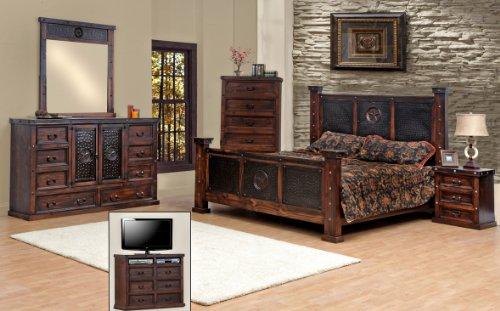 king size copper creek bedroom set dark stain western rustic