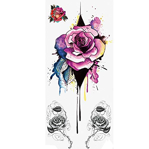TAFLY Flower Rose Fake Sexy Body Art Temporary Tattoo Stickers For Woman 5 Sheets