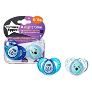 Tommee Tippee Closer to Nature Night Pacifier, 6-18 Months, 2 Count (Colors will vary)