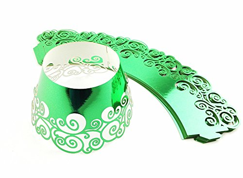12pcs Cupcake Paper Cup Lace Hollow Out Tray Decorative Cake Wrapper (Green) By Alimitopia