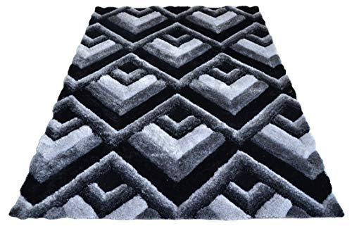 3D Contemporary Super Soft Polyester Fiber Area Shaggy Rugs for Living Room Bedroom Rug Mats Home Decor (5 x 7, Black/Grey)