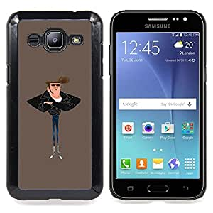 - Man Smoke Skinny Jeans Art Painting Style - - Snap-On Rugged Hard Cover Case Funny HouseFOR Samsung Galaxy J2