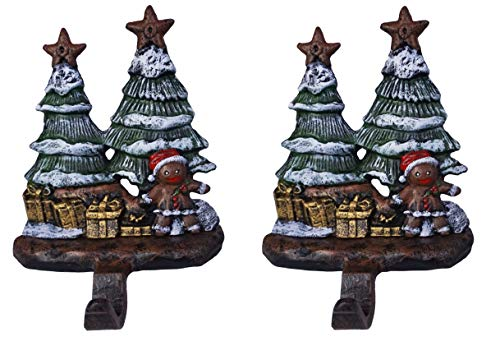 - LuLu Decor, Gingerbread Stocking Holder, Decorative Christmas Hook, Beautiful Gingerbread Man with Trees and Presents Hook Made of Solid cast Iron, Height 7