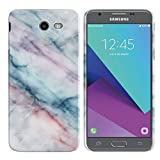 Samsung Galaxy J3 Emerge J327 2017 2nd Gen Case, FINCIBO Back Cover Hard Plastic Protector Case Stylish Design Purple Green Pink Marble