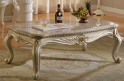 Meridian Furniture 252-C Marquee Solid Wood Coffee Table with Traditional Handcrafted Designs and Genuine Marble Top, 52″ L x 32″ D x 20″ H, Pearl White Finish With Gold Accents Review