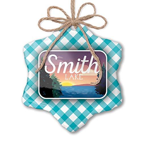 (NEONBLOND Christmas Ornament Lake Retro Design Lake Smith Blue Teal Turquoise Plaid)