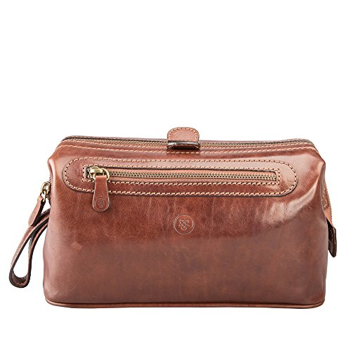 Maxwell Scott Personalized Luxury Tan Mens Toiletry Bag (The DunoL) - Large by Maxwell Scott Bags