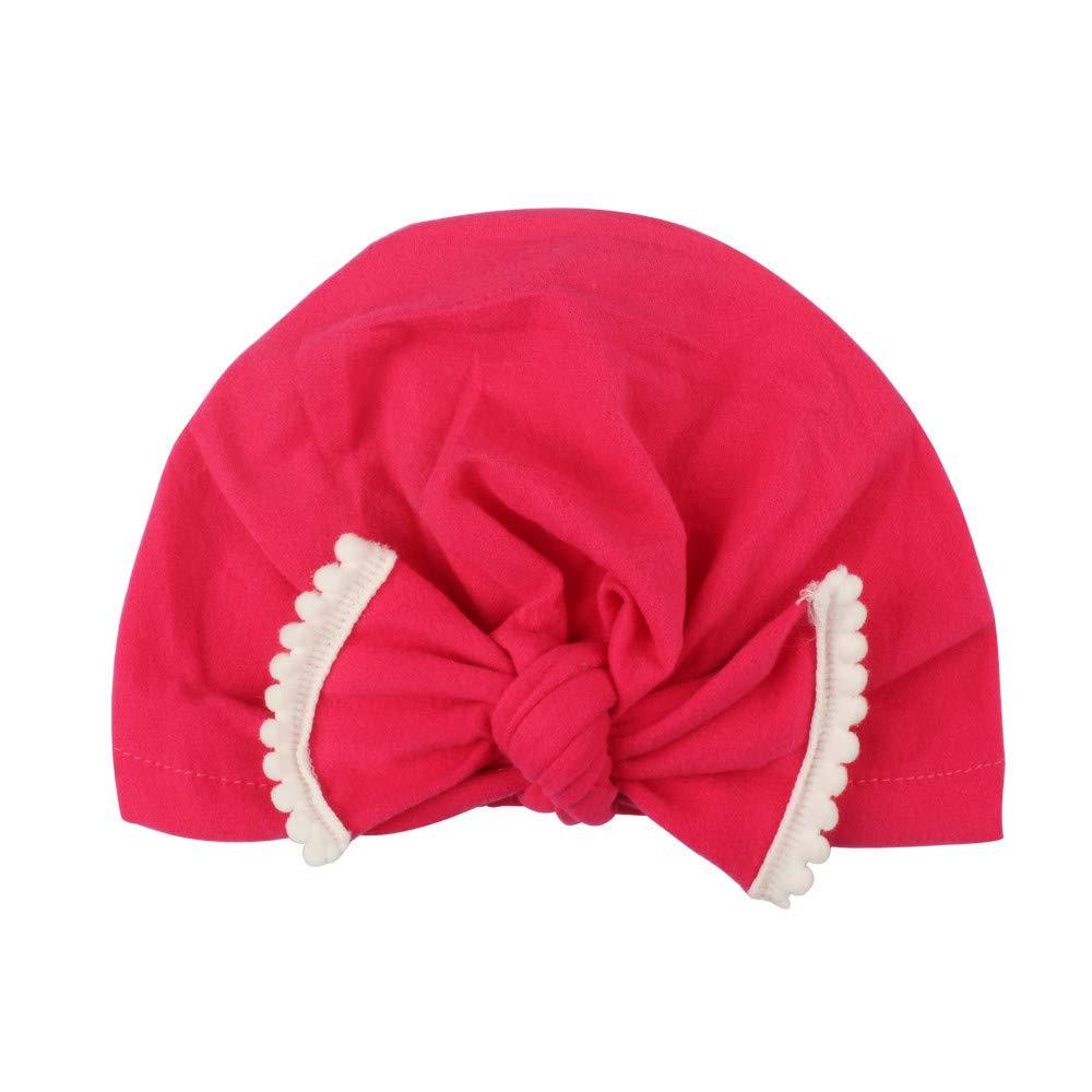 ❤️ Mealeaf ❤️ Cute Newborn Toddler Kids Baby Boy Girl Turban Cotton Beanie Hat Winter Warm Cap(Hot Pink,One)