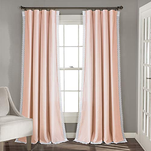 Lush Decor Rosalie Window Curtains Farmhouse, Rustic Style Panel Set for Living, Dining Room, Bedroom (Pair), 95