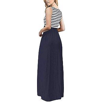 81c7a3e2f463d3 Subfamily® Frauen hohe Taille Elegante Kleider Bodenlanges Kleid rückenfrei  Sexy Long Beach bunten Dress elegant Kleid Sommer und Herbst Kleid:  Amazon.de: ...