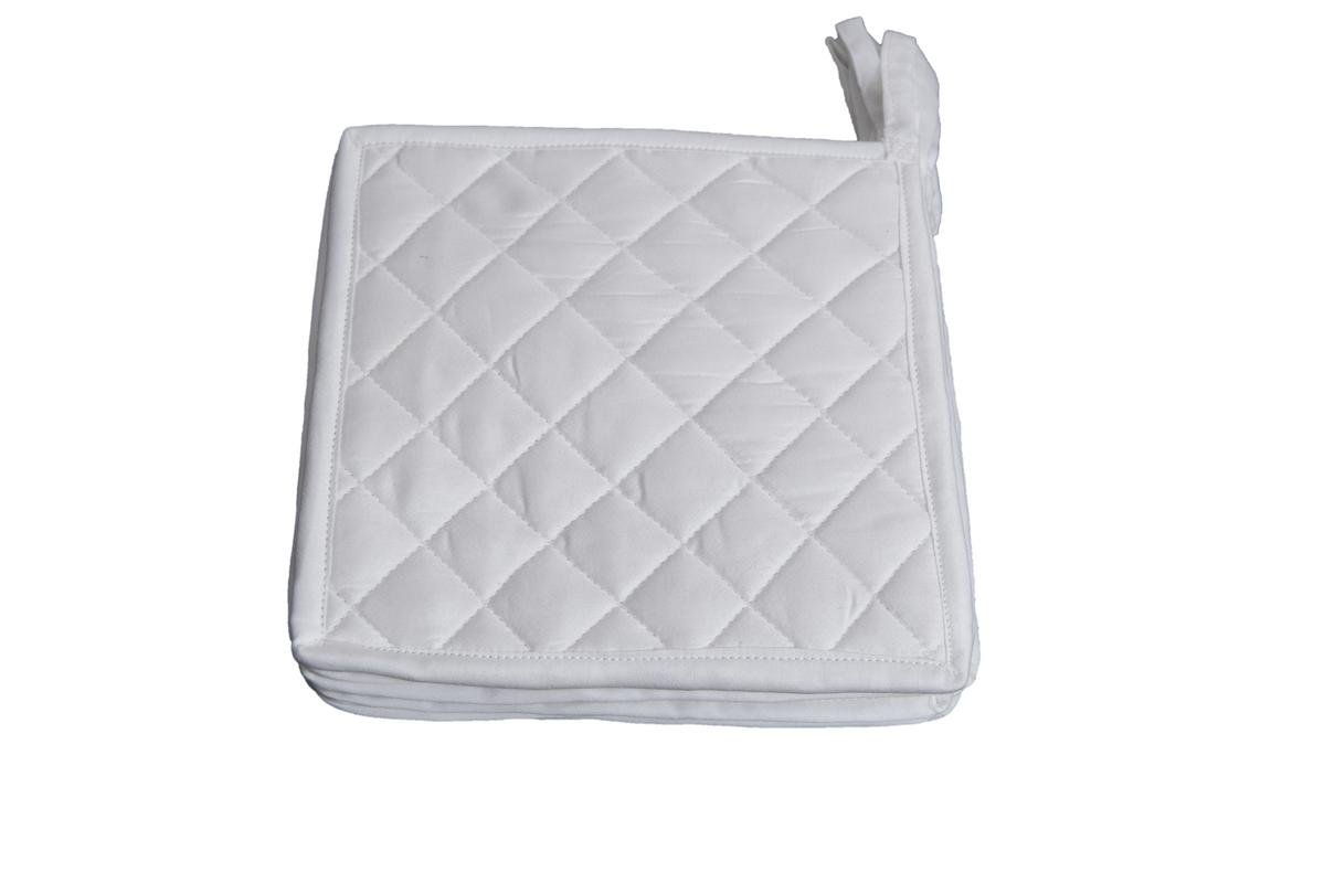 HM Covers Pot Holders 100% Cotton (Pack Of 10) Pot Holder 7'' x 7'' Square, Solid White Color Everyday Quality Kitchen Cooking, Heat Resistance!!