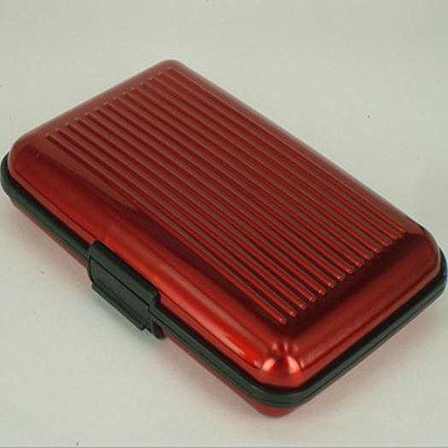 NPLE--Wallet Men Aluminum Metal Pocket Business ID Credit Card Men Man Holder Case Box (Red)