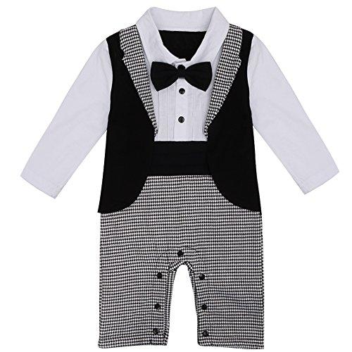 Baby Boys Gentleman Jumpsuit (White Black) - 4