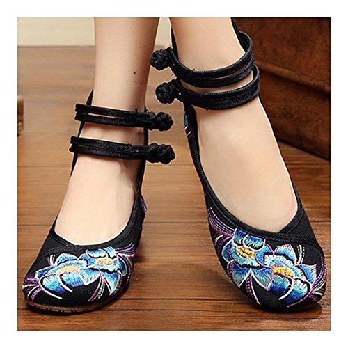 Bordados Flores De Elegantes Bonitos Y Zapatos Negro Azules Violetas Hojas q4xt4fZw