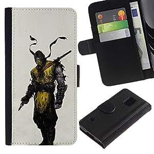 EJOY---Tirón de la caja Cartera de cuero con ranuras para tarjetas / Samsung Galaxy S5 V SM-G900 / --Enmascarado Ninja Warrior héroe