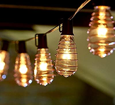 10' Ft. Set of 10 EDISON STYLE BULB Copper Wrapped STRING LIGHTS Clear Glass E17 C9 Steampunk Vintage Holiday, UL Listed, Black Wire with Clips, Patio Backyard Bar Garden Party Indoor Outdoor