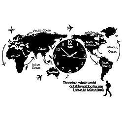 Wall Clock World map Wall Decoration Wall Clock - Oversized Black Acrylic Wall Clock/Arabic Digital Quartz Clock (Size : B)