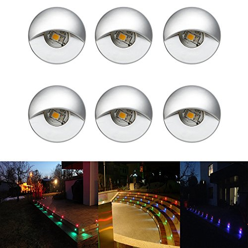 FVTLED 6pcs Low Voltage LED Step Lights Kit Half Moon Aluminum Outdoor Wood Deck Lighting Yard Garden Patio Stair LED Light Decoration Lamps, RGB by FVTLED