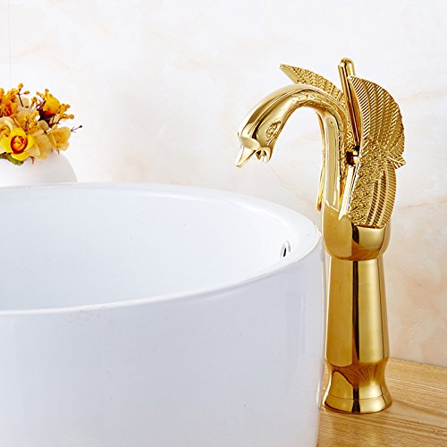 Dugoo Bathroom Sink Faucet New Design Swan Faucet Gold Plated Wash Basin Faucet Hotel Luxury Copper Gold Mixer Taps Hot And Cold Taps,Gold,High by Dugoo