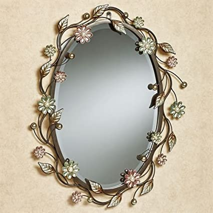 Amazon.com: Touch of Class Oval Flower Metal Wall Mirror Wall Decor ...