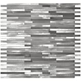 Grey Blends Thin Lines Aluminum Mosaic Tile - Kitchen Backsplash / Bath Backsplash / Wall Decor / Fireplace Surround