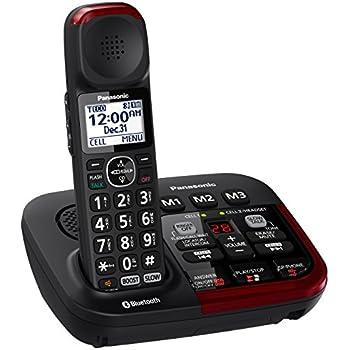 Panasonic KX-TGM430B Link2Cell Bluetooth Amplified Cordless Phone with Answering Machine, 1 Handset , Black