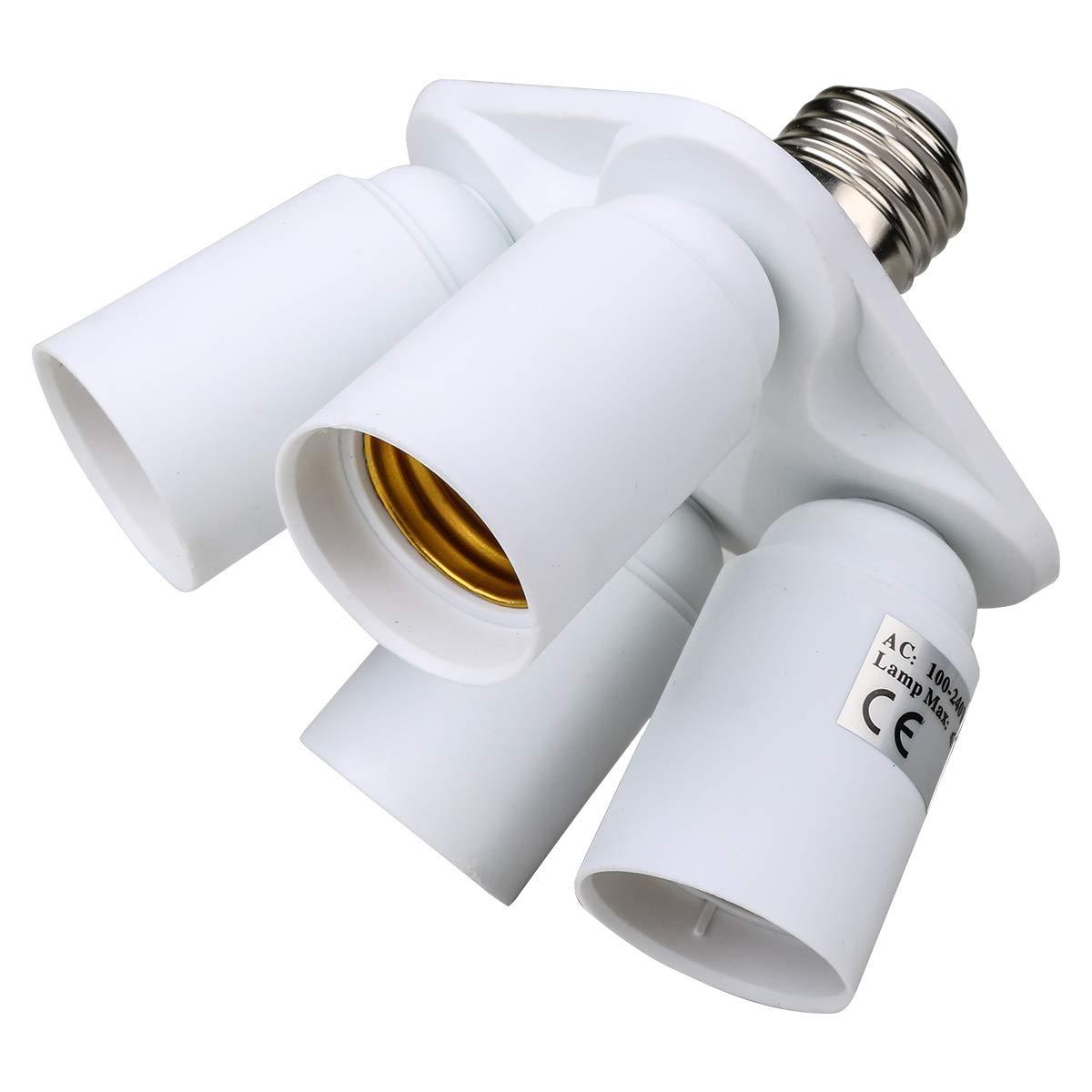 Toplimit GU10 to E12 Adapters Base Converts Fixture GU10 to Standard Screw-in Bulb Socket E12 Inflaming Retarding PBT Pack of 5 GU10 to E12