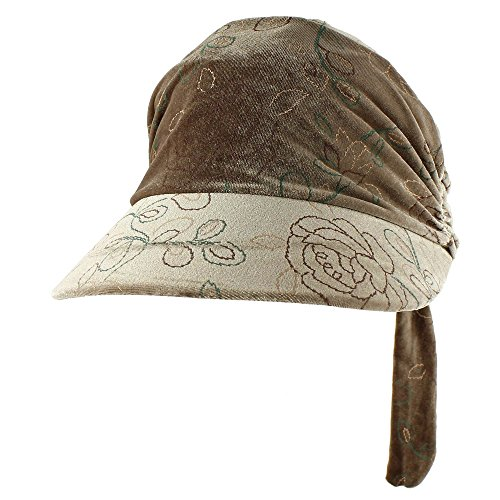Morehats Floral Embroidered Velvet Head Scarf with Brim Chemo Head Cap Women Cancer Patients Hat - Light Brown